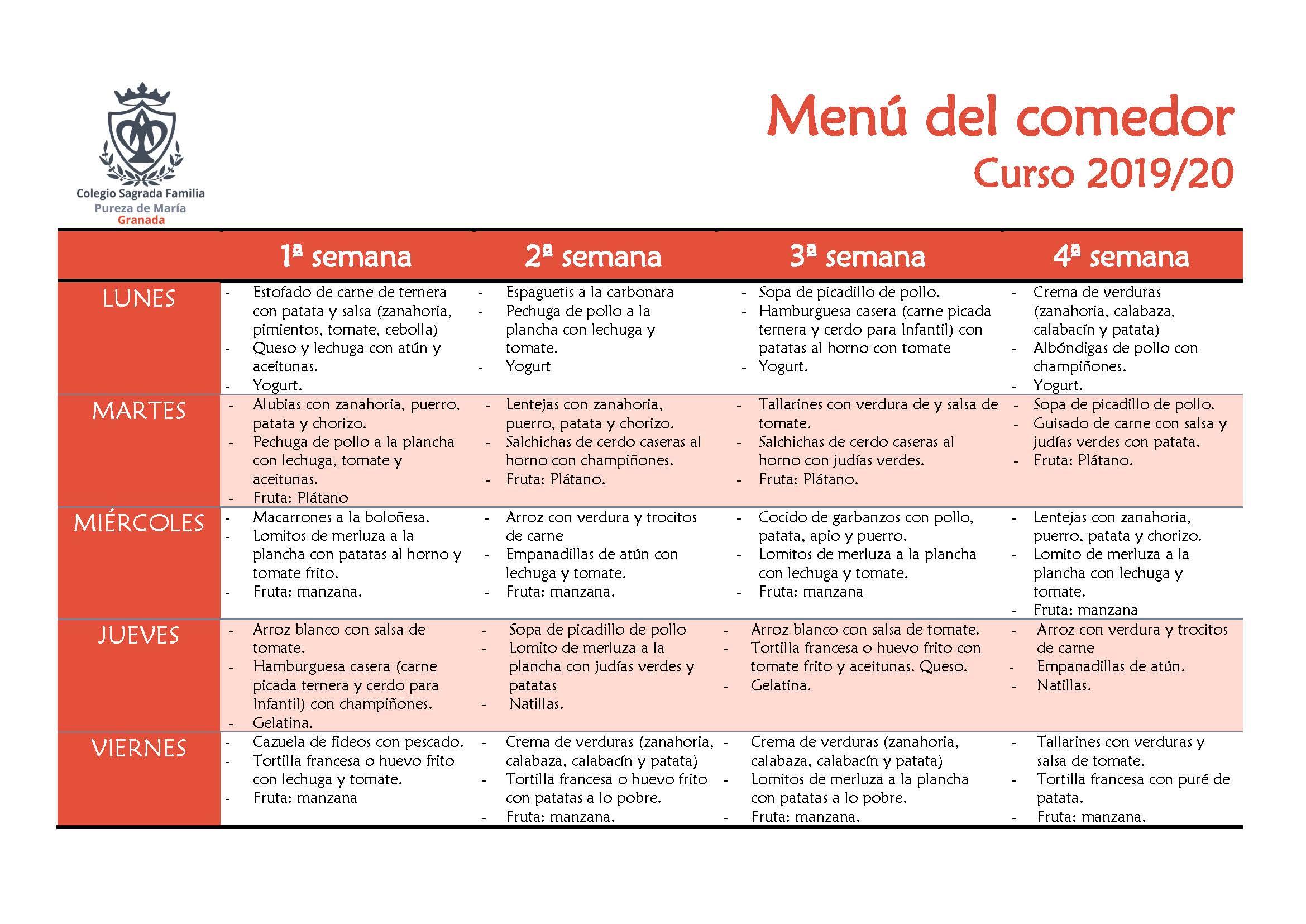 Comedor: Menú y servicios del mediodía | Colegio Sagrada ...